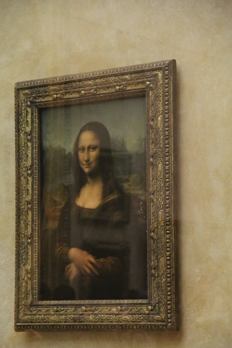 It's the Mona Lisa!!! All I have to do is squeeze through the fifty people in front of me. There, I'm actually looking at the Mona Lisa. Wait, it's so small. Why does everyone make such a big fuss about this?