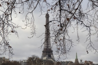The Eiffel Tower in the distance as we walked toward it.