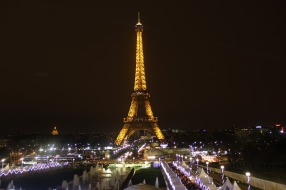 The Eiffel Tower at night from Trocadero