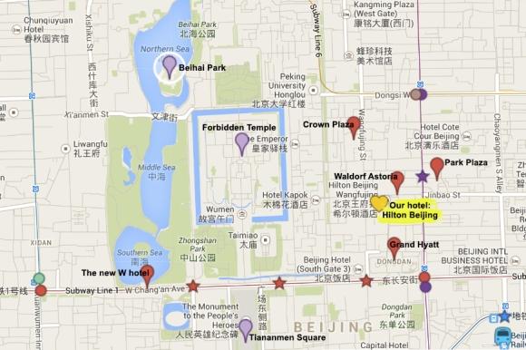 Beijing hotel map