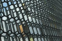 The walls of Harpa, Reykjavik's super modern concert hall