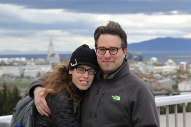 The two of us on the top of Perlan, which houses the country's hot water tanks.