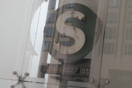 A reflection of the old subway sign at Potsdamer Platz