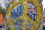 A piece of the Berlin Wall covered in graffiti