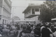 Thousands of Berliners watched as the original checkpoint booth is airlifted out of the spot where it sat for nearly 30 years