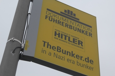 A sign marking the spot of Hitler's bunker.